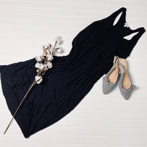 GAP Solid Black Racerback Tulip Maxi Dress